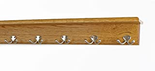 "product image for PegandRail Oak Shelf Coat Rack with Satin Nickel Double Style Hooks (Golden Oak, 26"" with 5 Hooks)"