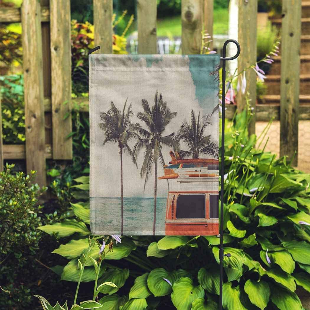 EATRAY Camper Garden Flag Vintage Car Parked Tropical Beach Seaside Surfboard Leisure Trip Retro Vertical Double Sided Decorative Indoor Outdoor Flags for Home Garden Yard Outside Decor 28 x 40 Inch