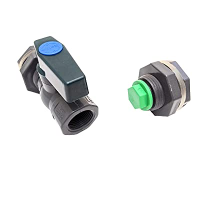 "Rain Barrel Essential Kit with 3/4"" PVC Ball Valve Spigot and Drain Valve Plug For Rain Barrels, Water Tanks, Aquariums, Tubs, Pools: Garden & Outdoor"