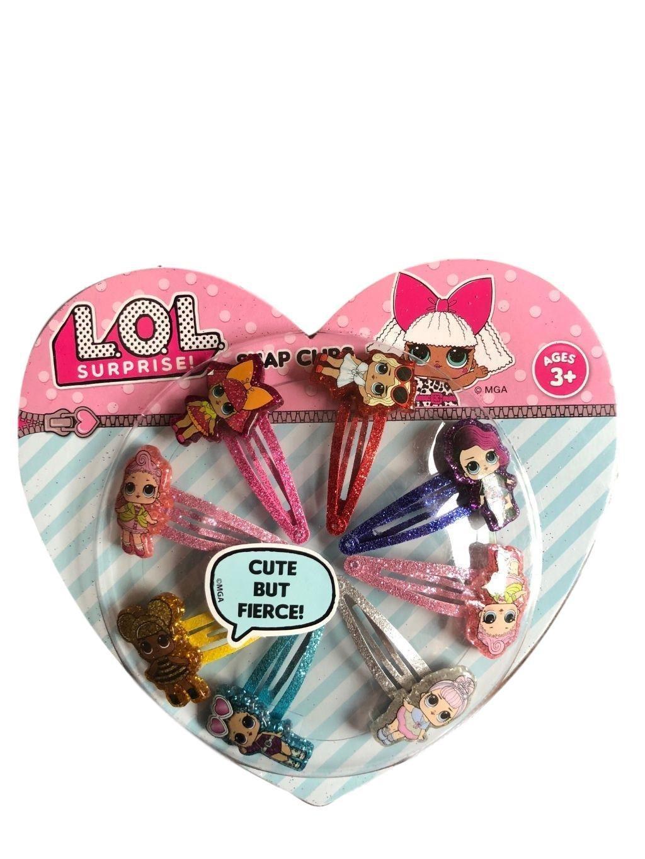 Snap Barrettes for Girls Hair Glitter Doll Suprise 8 PCS