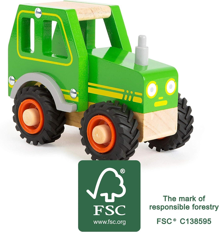 certifi/é FSC 100/% Vert 11078 Small Foot Tracteur en Bois pour Les Enfants de 18 Mois et Plus Convient /également aux Jeux dext/érieur gr/âce /à de Gros pneus en Caoutchouc Jouets