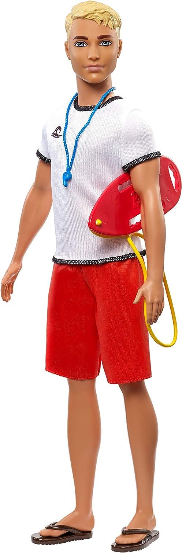 Ken Lifeguard Doll, Blonde, Wearing T-Shirt, Red Swim Trunks and Flip-Flops