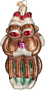 Old World Christmas Sock Monkey Pair Glass Blown Ornament
