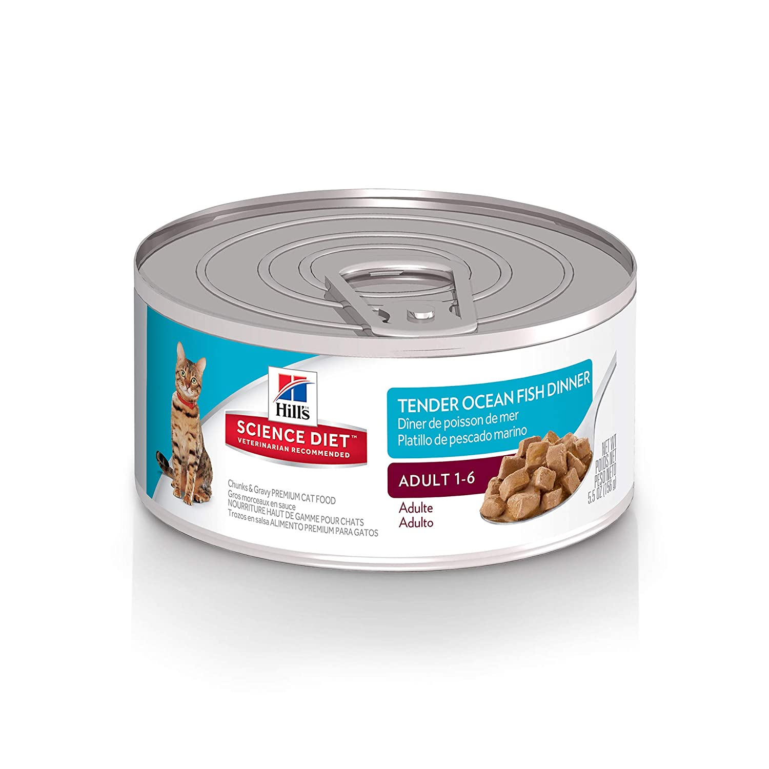 Hill'S Science Diet Adult Wet Cat Food, Tender Ocean Fish Dinner Chunks & Gravy Canned Cat Food