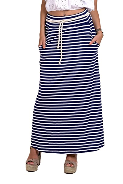 36cb216bf CHIC&CASUAL Falda Larga Rayas marineras Blancas y Azules: Amazon.es ...