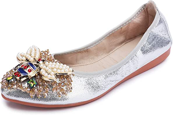 Stylein Womens Foldable Rhinestone Flats Ballet Bling Slip On Loafers