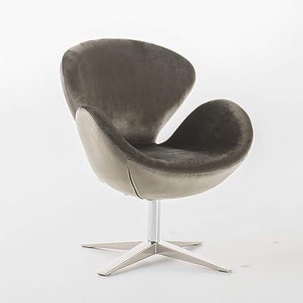 Amazon.com: Manhatten New Velvet Modern Swivel Chair (Grey): Kitchen ...