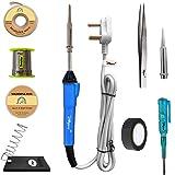 Hillgrove 9In1 25W Soldering Iron, Tweezer, Iron Stand, Soldering Paste, Soldering Wire, Desoldering Wick, Pointed Bit, Tester, Insulation Tape