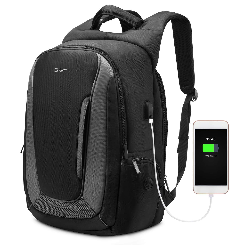 DTBG 17.3 Inch Laptop Backpack Travel Backpack Nylon Rucksack Water Resistant Daypack with USB Port fit 17-17.3 Inch Laptop for Work Men Women Black