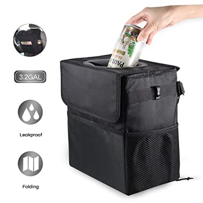 Mymazn 3.2 Gallon Car Trash Can with Lid and Storage Pockets, Big Size Leak-Proof Car Trash Bag Hanging, Collapsible Car Garbage Can Multipurpose Car Organizer for Vehicles: Automotive