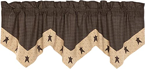 VHC Brands Primitive-Kitchen Curtains Kettle Grove Star-Rod Pocket Cotton Hanging Loops Appliqued 20×60 Valance, Country Black
