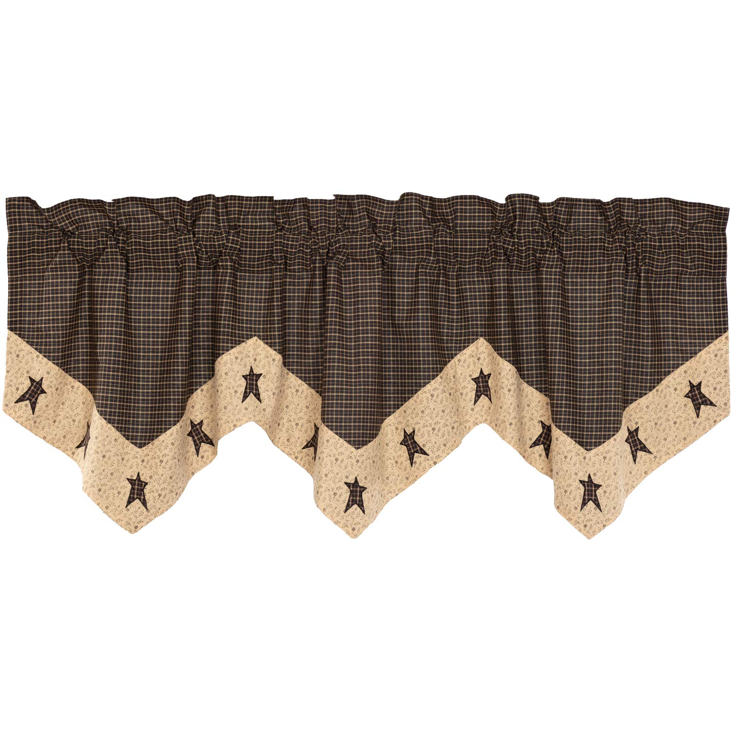 VHC Brands Primitive Kitchen Curtains Kettle Grove Star Rod Pocket Cotton Hanging Loops Appliqued 20x60 Valance Country Black