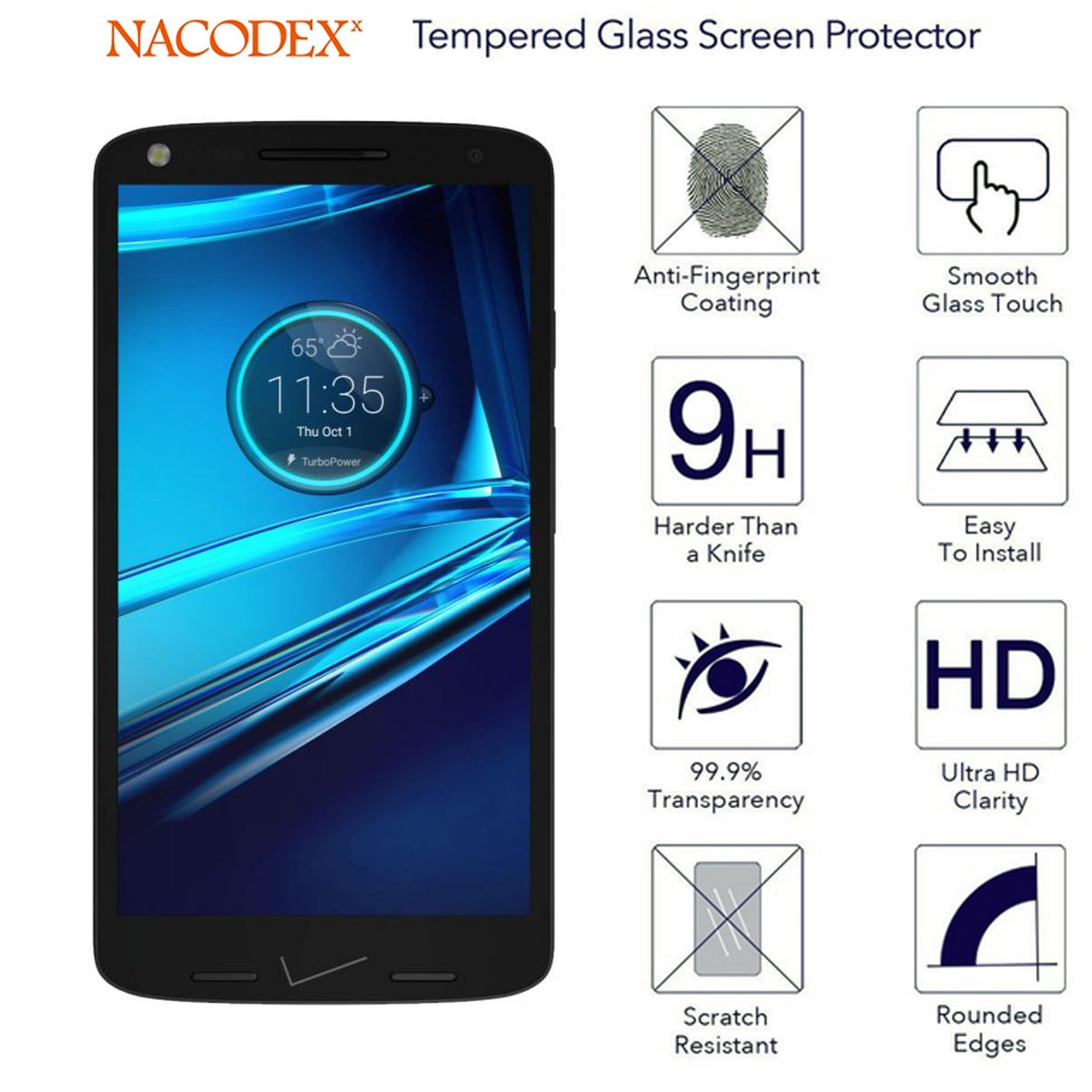 3x Moto Droid Turbo 2 Screen Protector, (3-Pack) Nacodex® Tempered Glass For Motorola Droid Turbo 2 Glass Screen Protector , 0.3mm Screen Protection (For ...