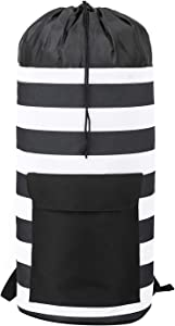 Striped Laundry Backpack for Dorm, College, RV, Travel