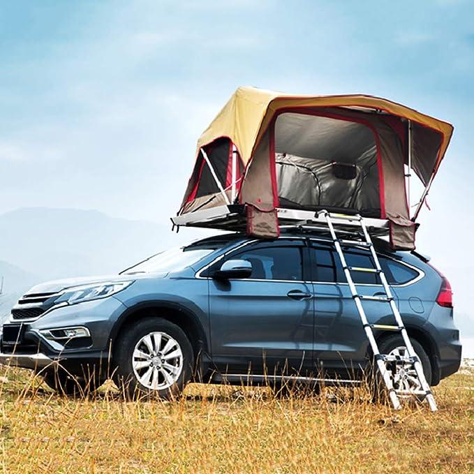 Tienda de campaña ADKINC Techo, Techo Duro Coche Pickup con presión automática para Acampar al Aire Libre Familia Actividades de Vacaciones – con colchón y Escalera – Tira de luz LED –