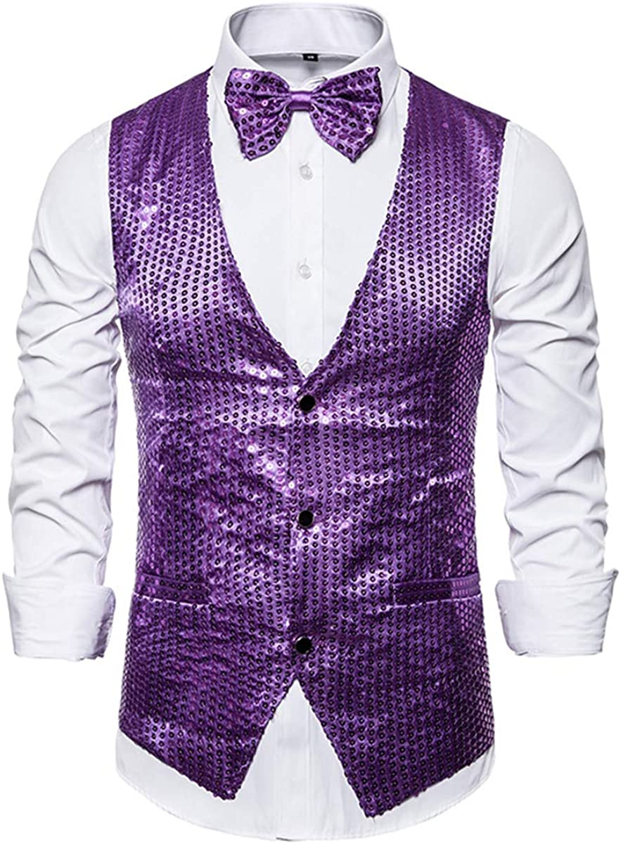 MENDENG Slim Fit Sequin Suit Vest for Men Bowtie Set Tuxedo Waistcoat Night Club