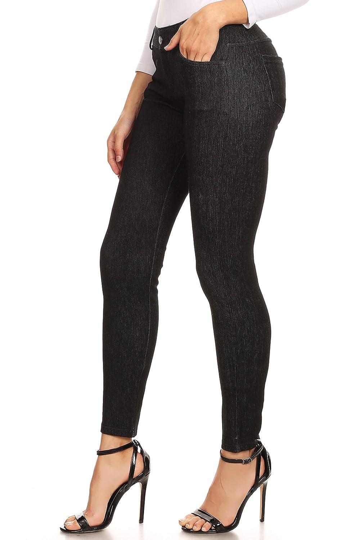 12389b2e4e149 Amazon.com: Enimay Women's Jean Look Jeggings Tights Spandex Leggings Yoga  Pants: Clothing