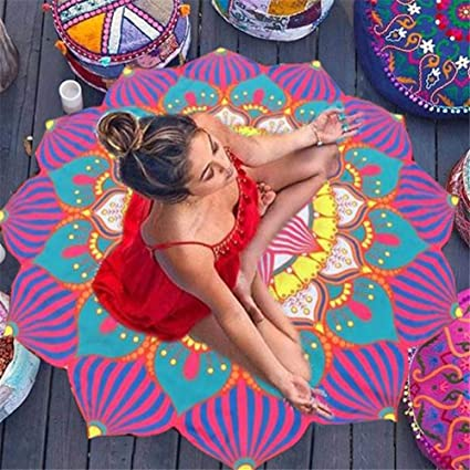 Amazon.com : Beach Towel Round Flowers Printed Large Bath ...