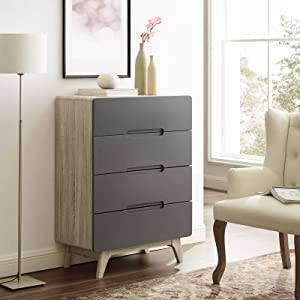 Modway Origin Contemporary Mid-Century Modern 4-Drawer Bedroom Chest in Natural Gray