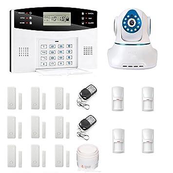 SZABTO GSM sistema de alarma inteligente Cámara IP inalámbrica 720P HD inalámbrico con detectores de movimiento y contactos de puerta de entrada para la ...