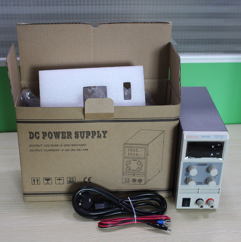 Haitronic Hps305d Dc 30v 5a Adjustable Switching Power Supply 0 30v0 2a Voltage And Current Regulator Ac 110v Input Precise Variable 030v 05a Output 3 Digital Display With Alligator