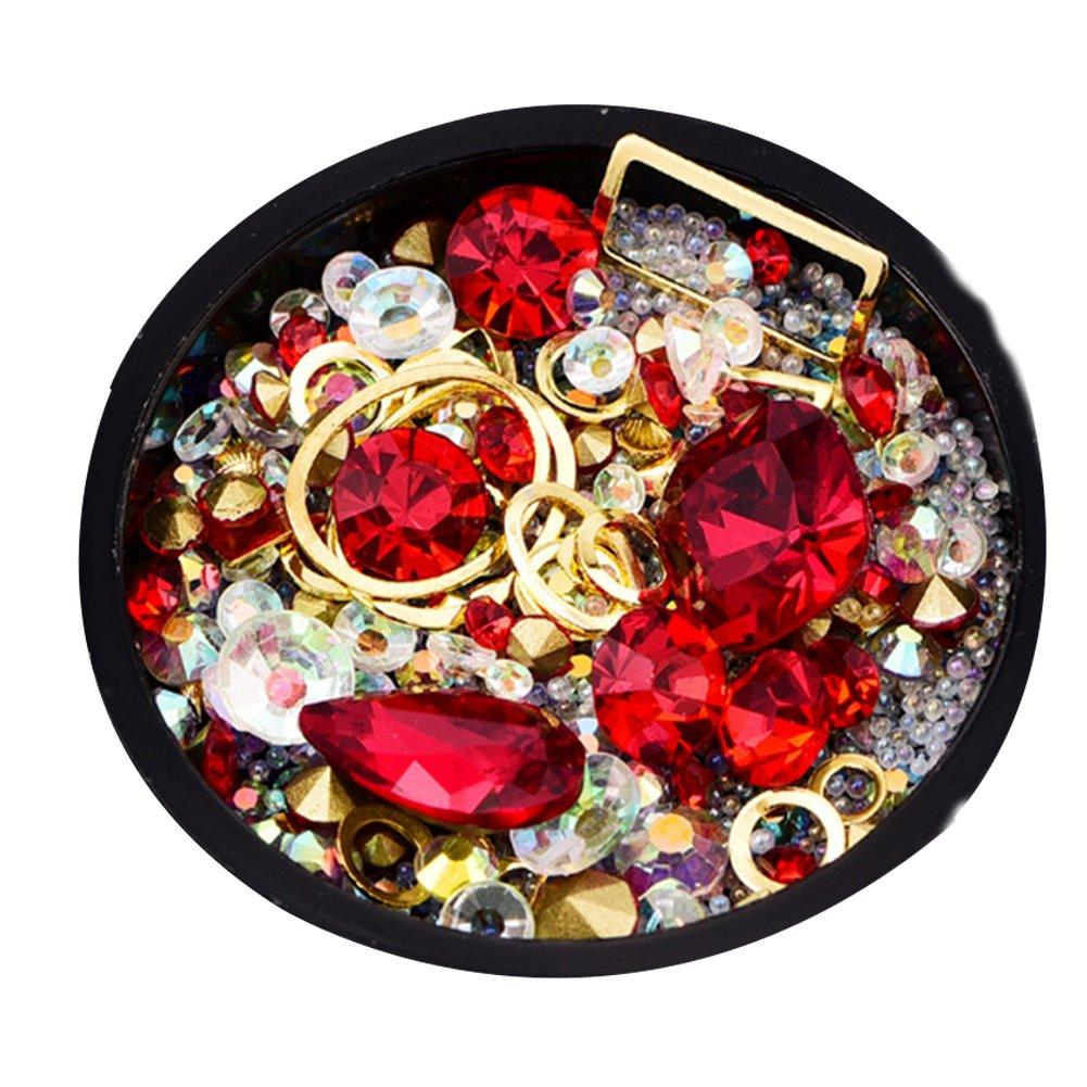 Rocita Pedrería de uña 3D, Cristales de uña, Rhinestone de Acrílico UV Gel Decoración Joyería para uña Natural y artificial clavos(rojo)