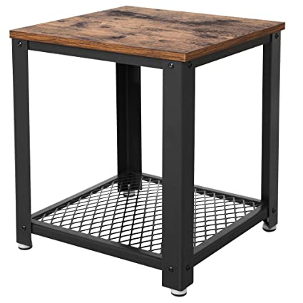 Amazoncom Vasagle Industrial End Table 2 Tier Side Table With