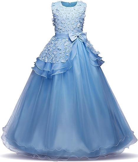 AQUA Flower Girl Dress Birthday Dance Party Bridesmaid Wedding Recital Pageant