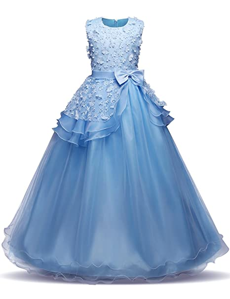 980138005a1 IBTOM CASTLE Little Big Girls  Tulle Lace Gauze Flower Bowknot Formal Party  Fall Wedding Bridesmaid