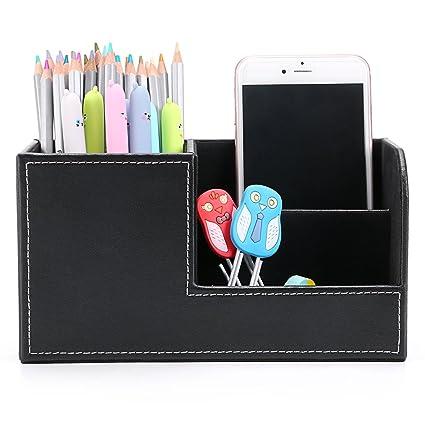 Amazon btsky desk pen pencil holder leather multi function btsky desk pen pencil holder leather multi function desk stationery organizer storage box pen reheart Choice Image