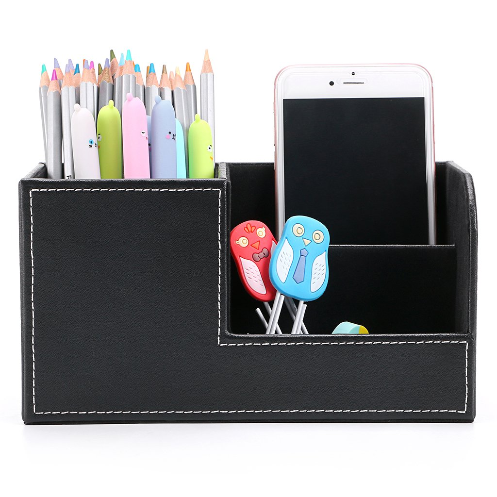 BTSKY Desk Pen Pencil Holder Leather Multi-Function Desk Stationery Organizer Storage Box Pen/Pencil, Cell Phone, Business Name Cards Remote Control Holder Office Home Accessories Organizer(Black)