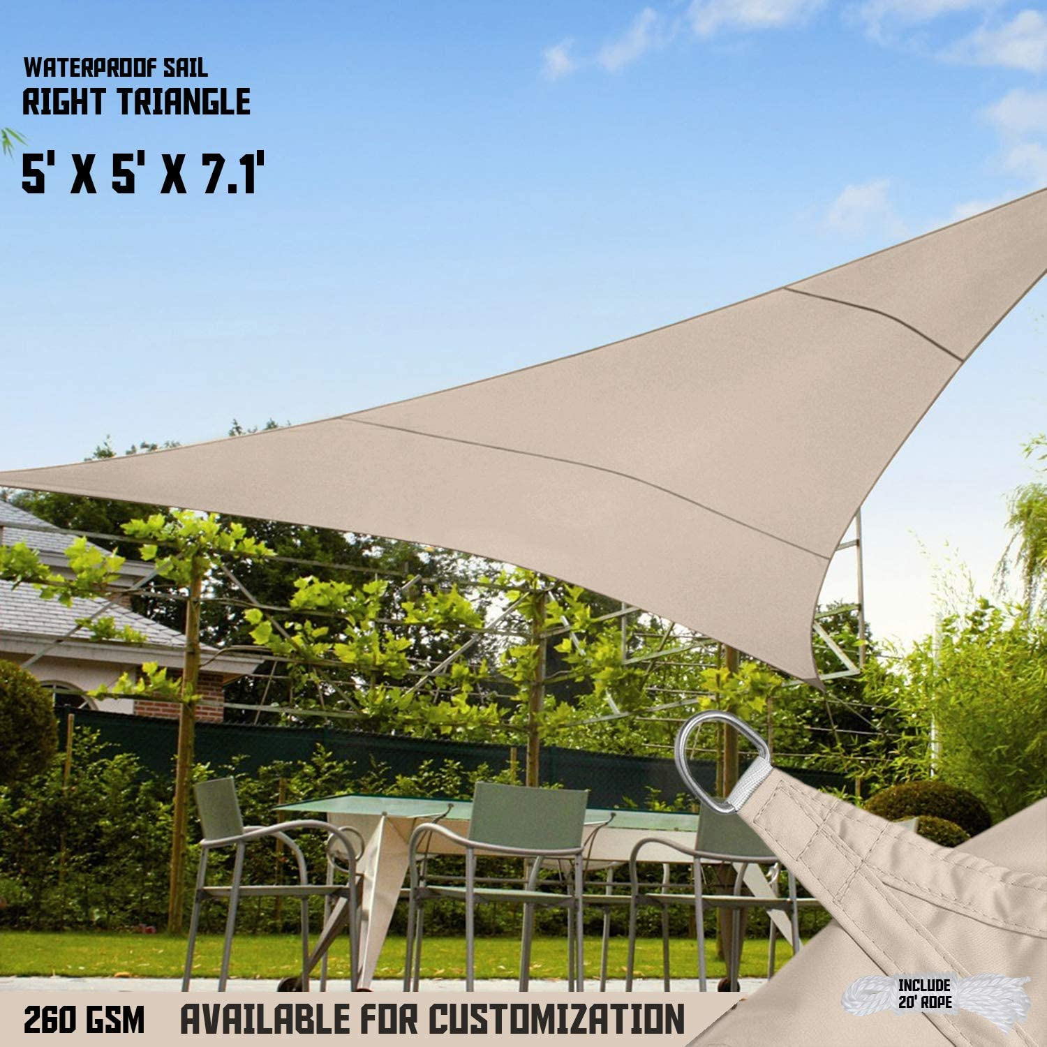 TANG Sunshades Depot 5x5x7 Right Triangle Waterproof Knitted Shade Sail with 6 inch Kit Curved Edge Beige 220 GSM UV Block Shade Fabric Pergola Carport Awning Canopy Replacement Awning