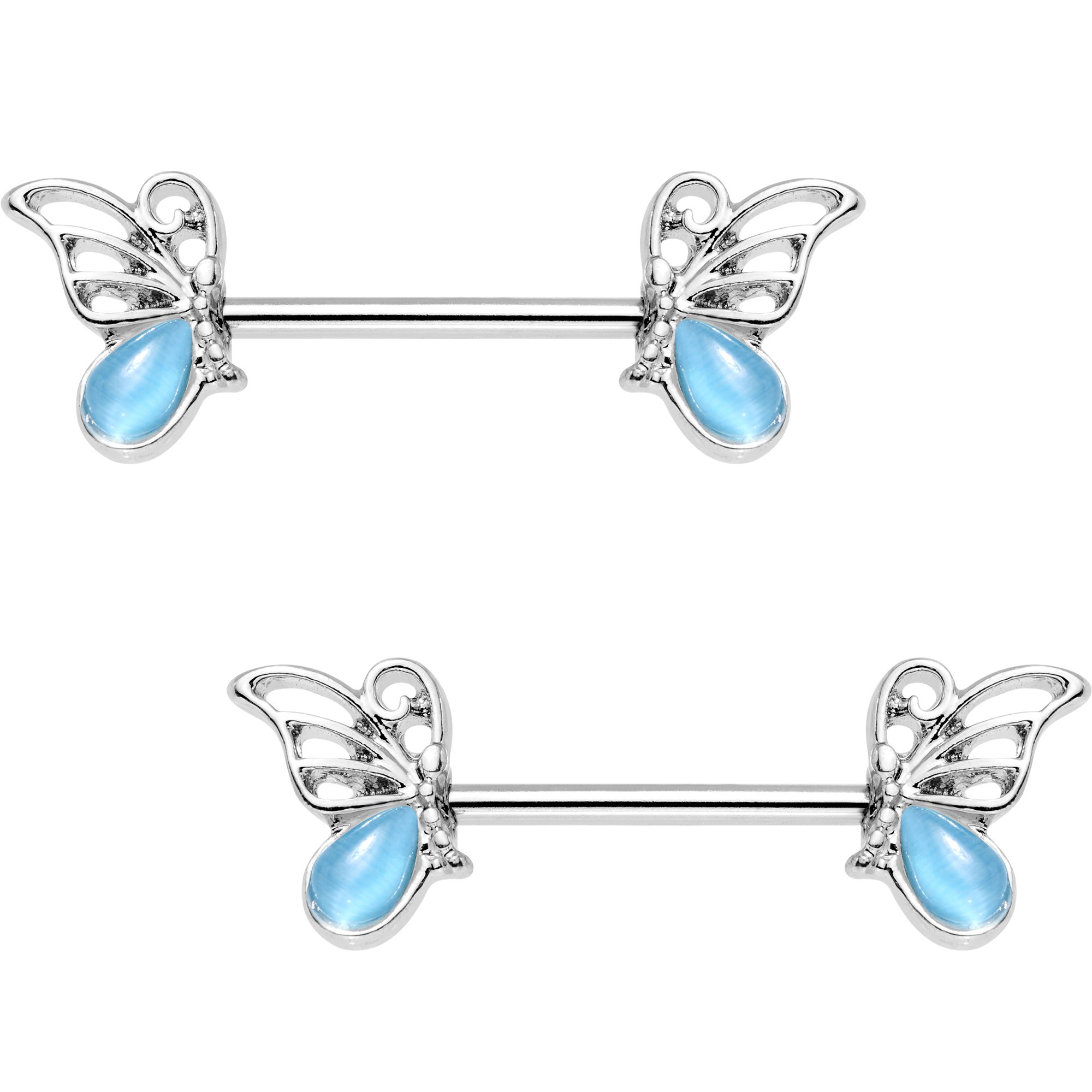 Body Candy Steel Brilliant Blue Accent Butterfly Frame Barbell Nipple Ring Set of 2 14 Gauge 15mm