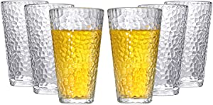 GLVEAOUI Drinking Glasses Set of 6 Heavy Base Tumblers Highball Glasses Drinkware Set for Ice Tea Beverage Water Soda Juice Cocktail 11.8 Ounces