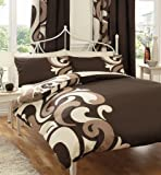 BROWN PRINTED KING SIZE DUVET COVER BED SET