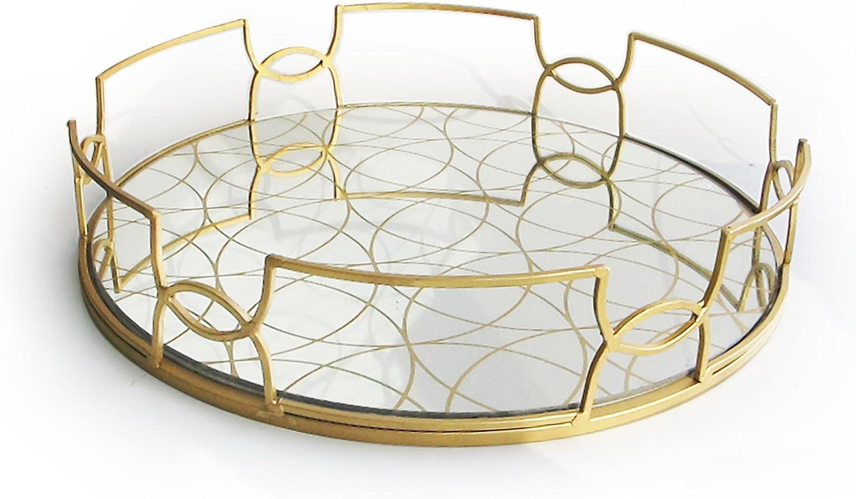 The Jay Companies Round Mirror Tray Gold Amazon Co Uk Kitchen Home