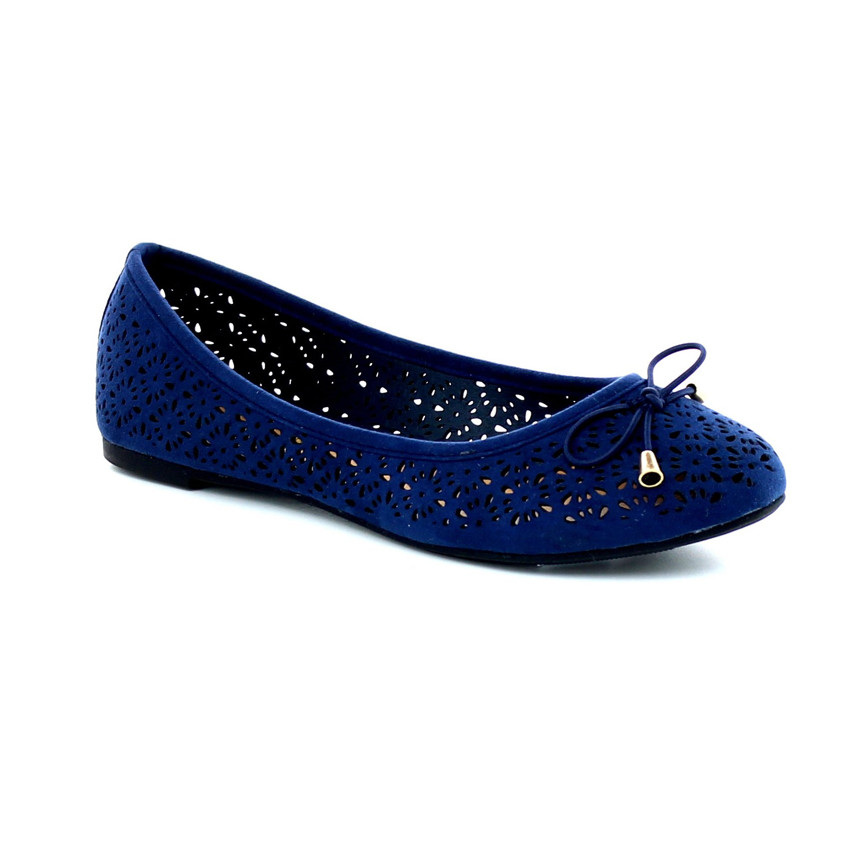 Women's Slip On Ballet Flats Perforated Cut Out Bow Tie Shoes Ballerina Comfort Slippers FC05 Navy 9