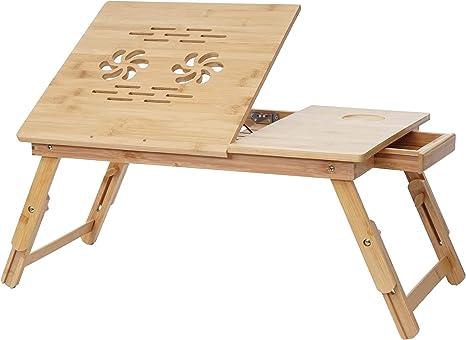 Mendler Laptoptisch Hwc B81 Notebooktisch Betttisch Klapptisch Mit Lüftungslöcher Faltbar Höhenverstellbar Bambus Küche Haushalt