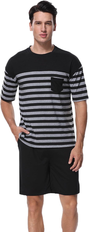 Aiboria Mens Summer Pajamas Set Cotton Short Sleeve Tops /& Bottom Sleepwear Raglan Loungewear Pj Set