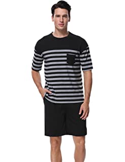 Mens Tom Franks Jersey Cotton Striped Short Sleeve Top And Shorts Lounge Wear