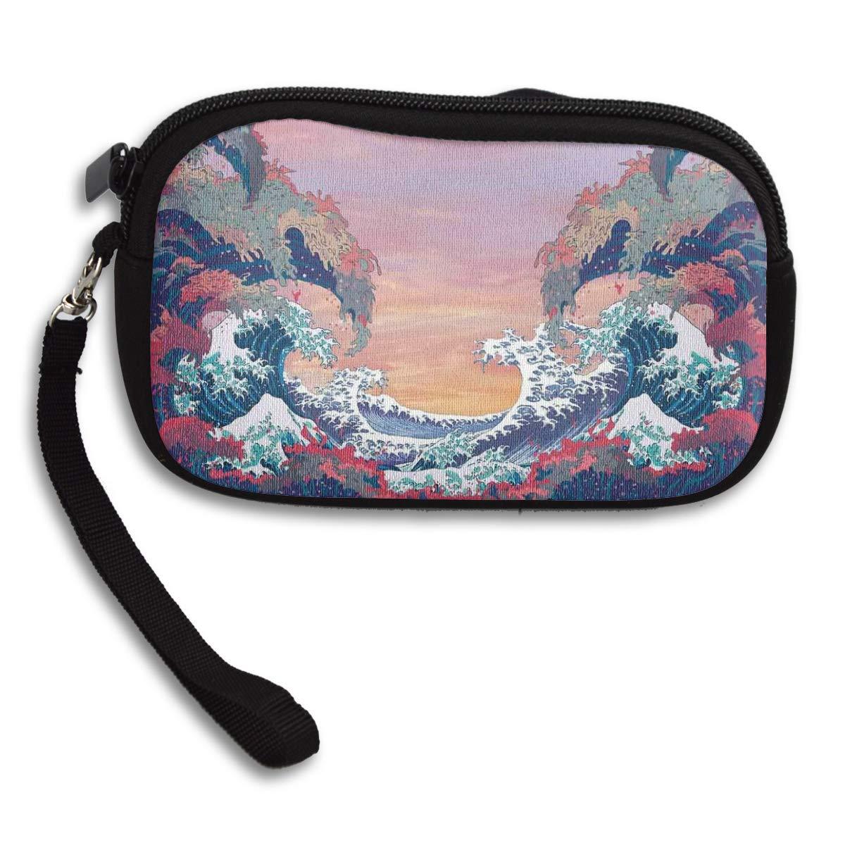 Sea Waves Ocean Modern Magic Art Coin Pouch Clutch Purse Wristlet Wallet Phone Card Holder Handbag