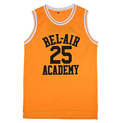 TUEIKGU Men's Banks #25 Bel Air Academy Basketball Jersey S-XXL Yellow