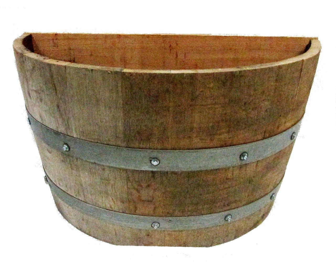 "MGP Oak Wood Qarter Wine Barrel Planter Handcrafted from Used Wine Barrels, 26"" W x 14"" D x 18"" H"