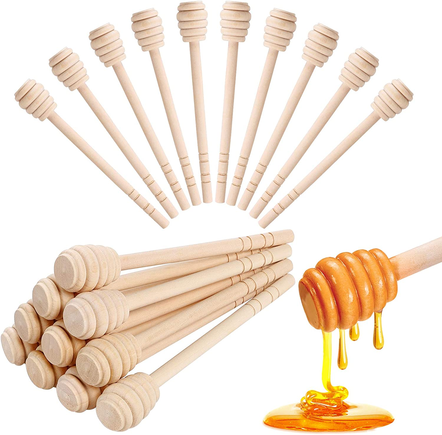 Quantity Options Honey Stick Order 1 to 5 Natural and Unfinished Wooden 6 Honey Dippers made from Solid Hardwood Wedding Favors