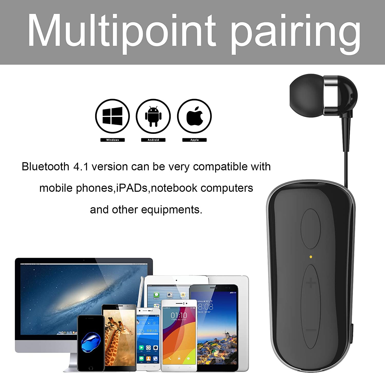 Retractable Bluetooth Headset,NILEWEI Wireless Earpiece with Microphone for Cell Phones//iPhone//Samsung//Lg,Handsfree Calling Noise Cancelling Technology Bluetooth V4.1 Earphones for Trucker Drivers
