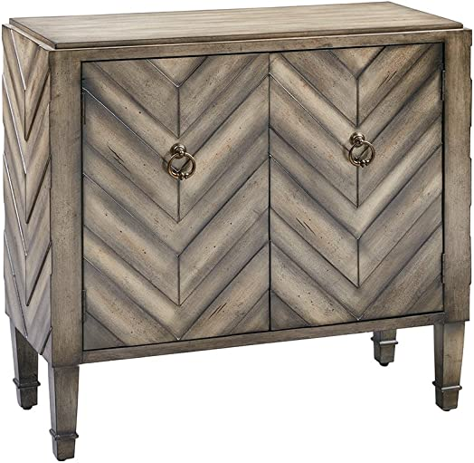 Madison Park Dresden Storage Chest – Wood Living Room Storage – Brown, Tan, Geometric Cheveron Pattern Modern Style Dresser Chest – 1 Piece 2 Doors Chest For Bedroom