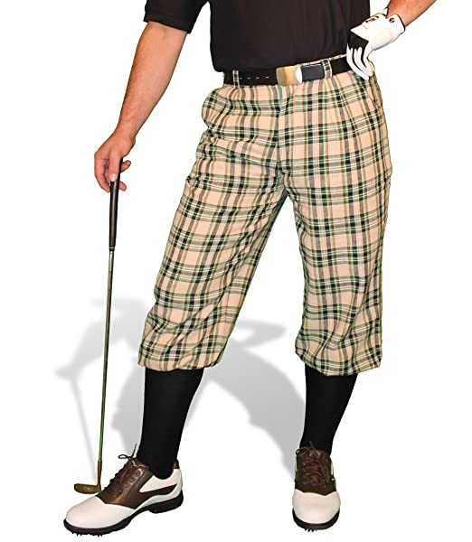 1940s Trousers, Mens Wide Leg Pants Plaid Golf Knickers: Mens Par 5 - Khaki Stewart $99.95 AT vintagedancer.com
