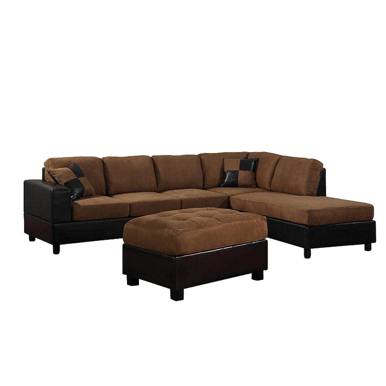 Amazon US Pride Sierra Microfiber Sectional Sofa with Ottoman