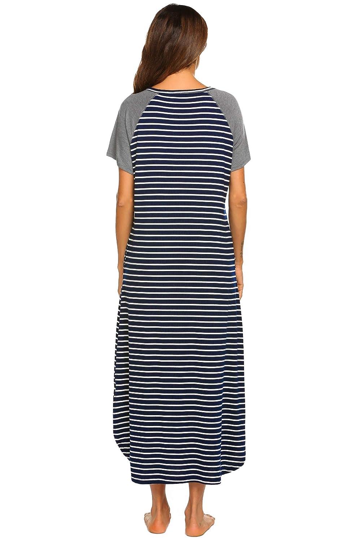 Ekouaer Long Nightgown,Women/'s Loungewear Short Sleeve Sleepwear Full Length Sleep Shirt with Pockets