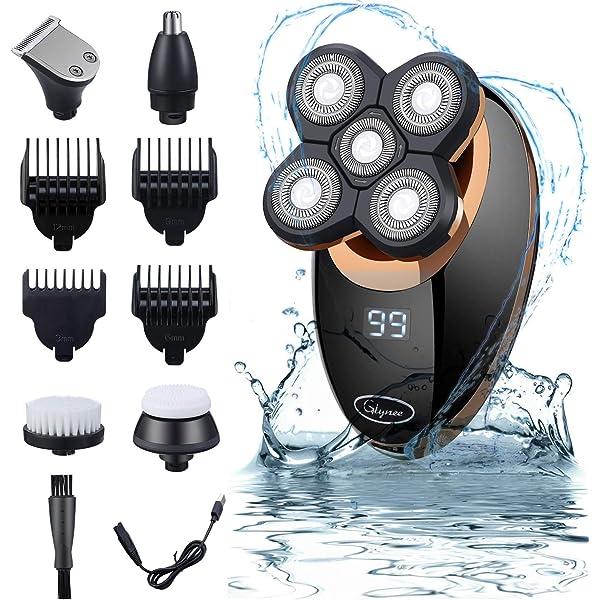 Maquinilla De Afeitar, Afeitadora Corporal EléCtrica Para Hombre Impermeable, Glynee 5 en 1 USB Recargable Húmedo & Seco Afeitadora de Cabeza Calva Cortapelos Recortador de Barba: Amazon.es: Belleza